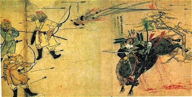 Genghis Khan Mongols-using-Chinese-gunpowder-bombs-during-the-Mongol-Invasions-of-Japan-1281