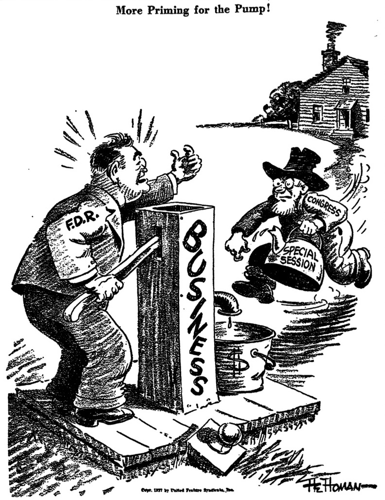 Worldly FDR Cartoon Priming the Pump